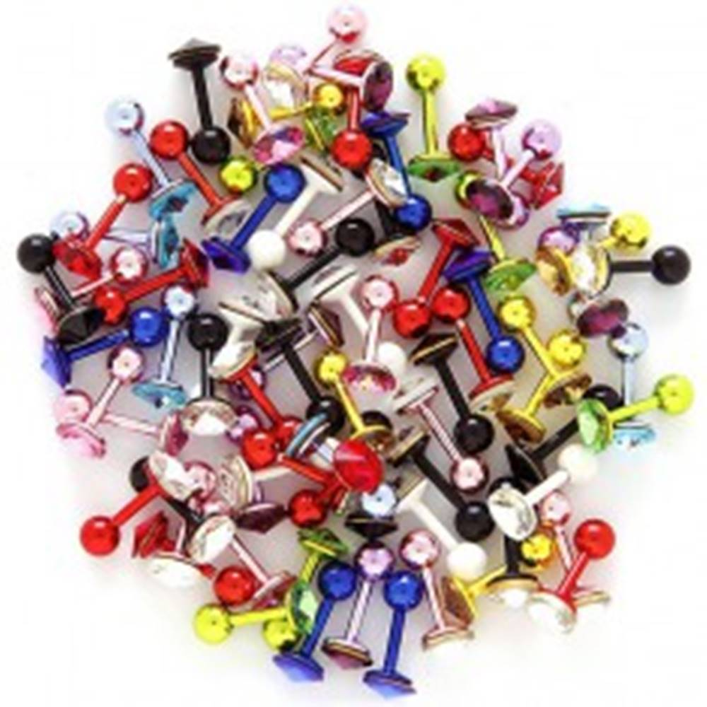 Šperky eshop Piercing do tragusu s farebným zirkónom - Farba piercing: Biela