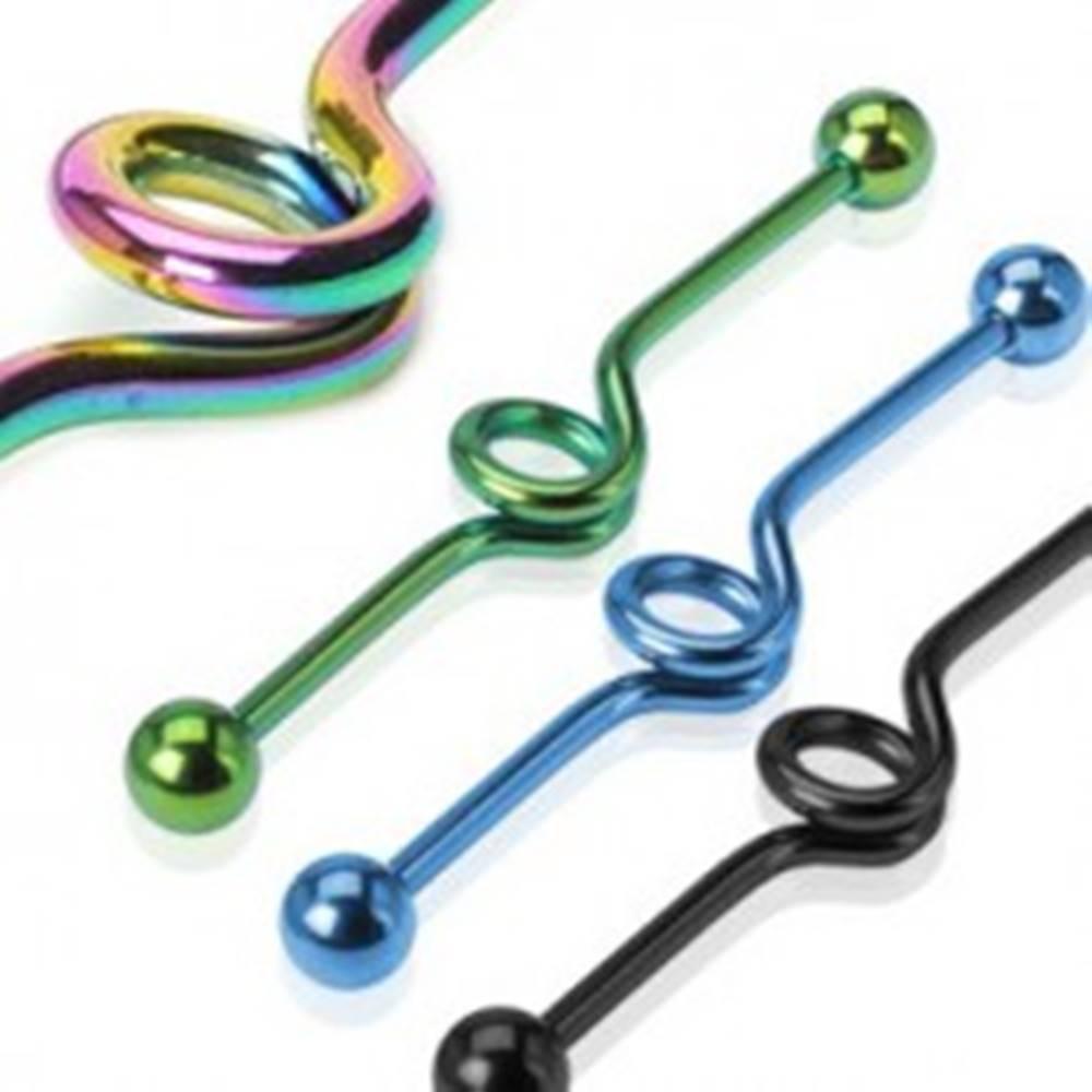 Šperky eshop Piercing do ucha - anodizovaná skrútená činka - Farba piercing: Čierna
