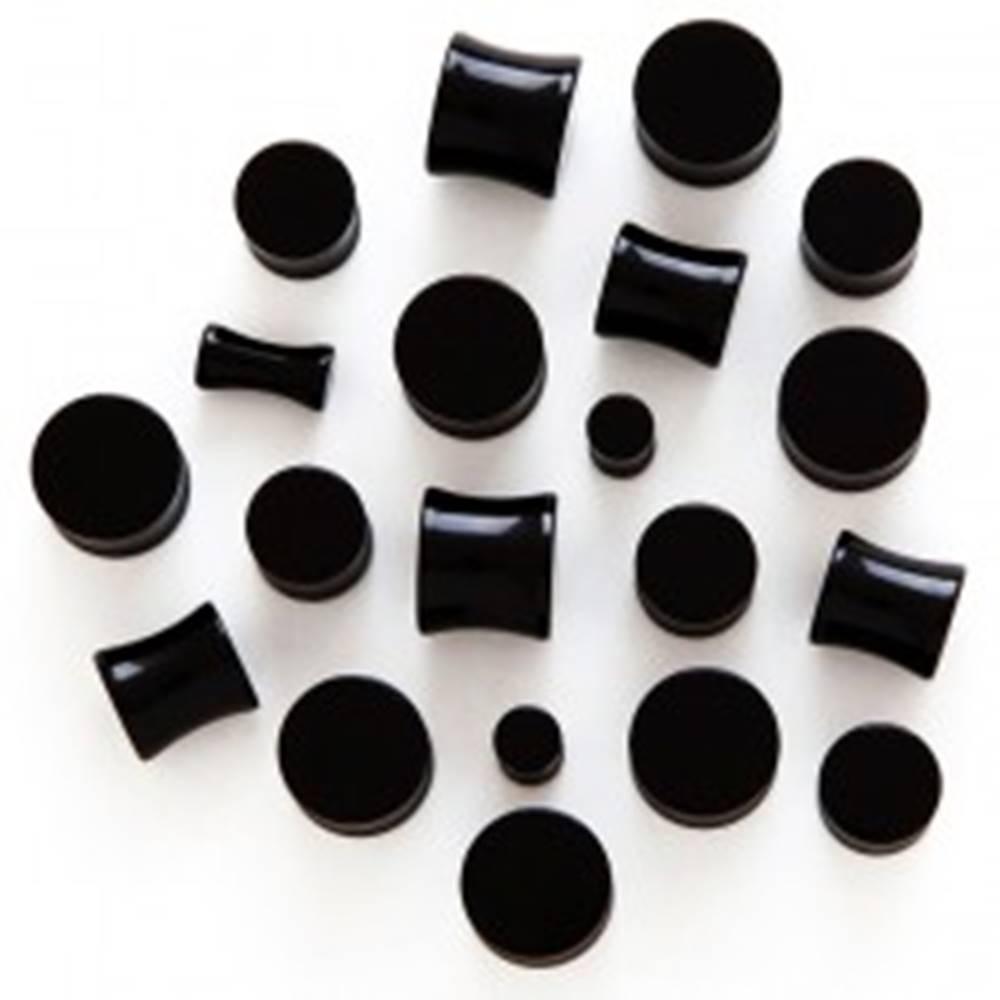 Šperky eshop Plug do ucha - čierny lesklý valček - Hrúbka: 3 mm