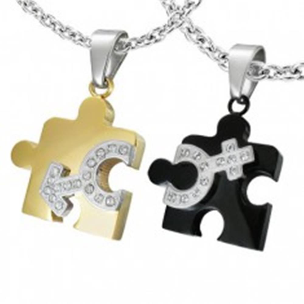 Šperky eshop Prívesok z ocele pre dvoch - puzzle, symbol pohlaví
