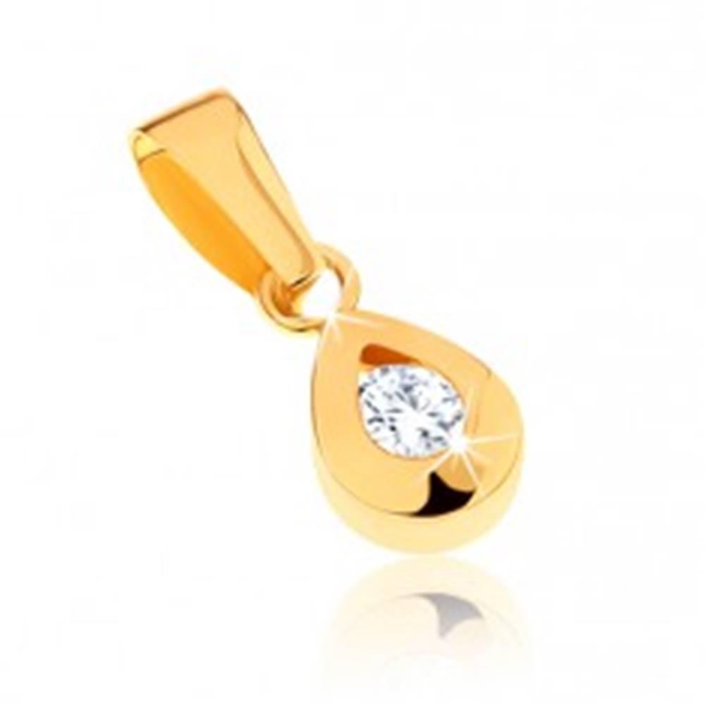 Šperky eshop Prívesok zo žltého 9K zlata - ligotavá kvapka s čírym zirkónom