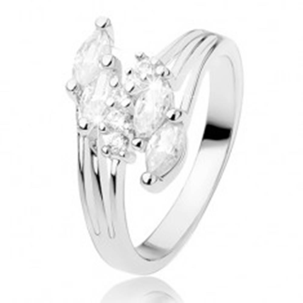 Šperky eshop Prsteň s rozvetvenými ramenami, ligotavé zirkóny čírej farby - Veľkosť: 56 mm