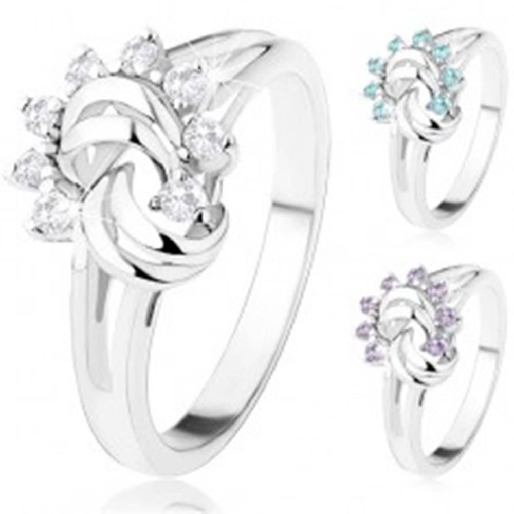 Šperky eshop Prsteň striebornej farby, rozdelené ramená, zirkónové slnko, oblúčiky - Veľkosť: 54 mm, Farba: Modrá svetlá