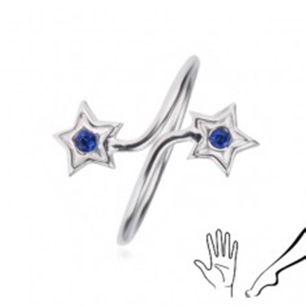 Šperky eshop Prsteň zo striebra 925 - ramená s hviezdami, modré zirkóny