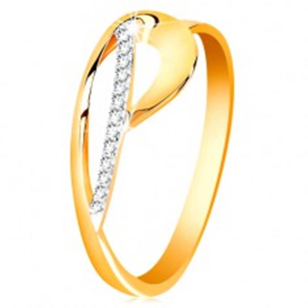 Šperky eshop Prsteň zo zlata 585 - kontúra slzy a žiarivý oblúk z čírych zirkónikov - Veľkosť: 50 mm