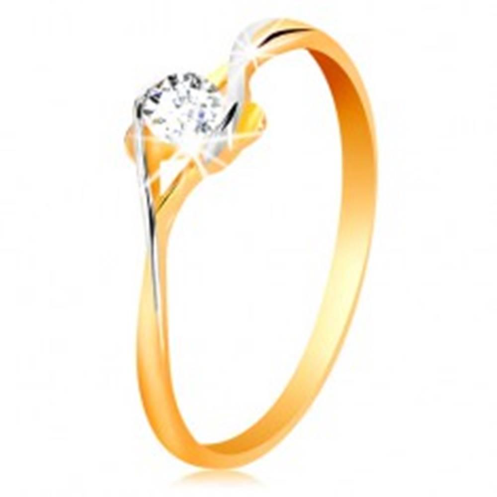 Šperky eshop Prsteň zo zlata 585 - rozdelené dvojfarebné ramená, okrúhly číry zirkón - Veľkosť: 50 mm