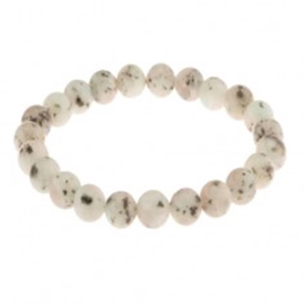Šperky eshop Pružný náramok, guľôčky z prírodného kameňa svetlosivej farby, čierne škvrny