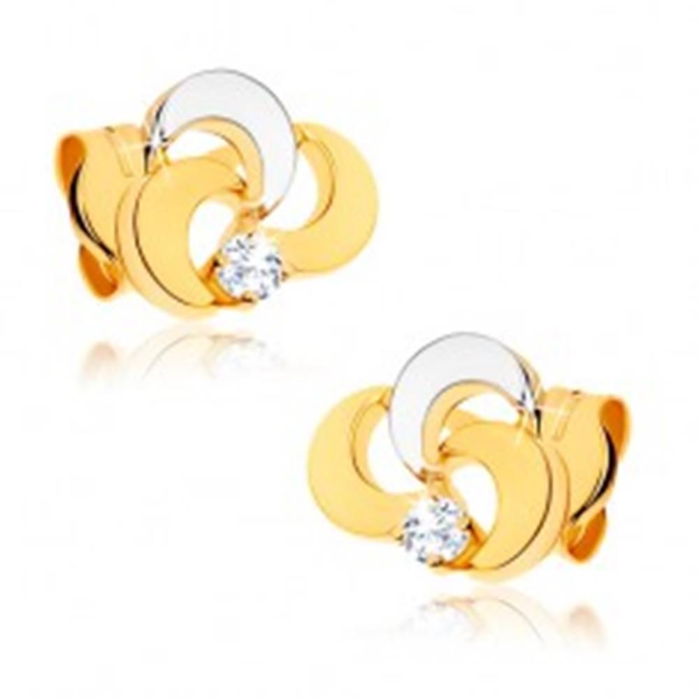 Šperky eshop Ródiované náušnice z 9K zlata - trojlístok s čírym zirkónom, dvojfarebné prevedenie