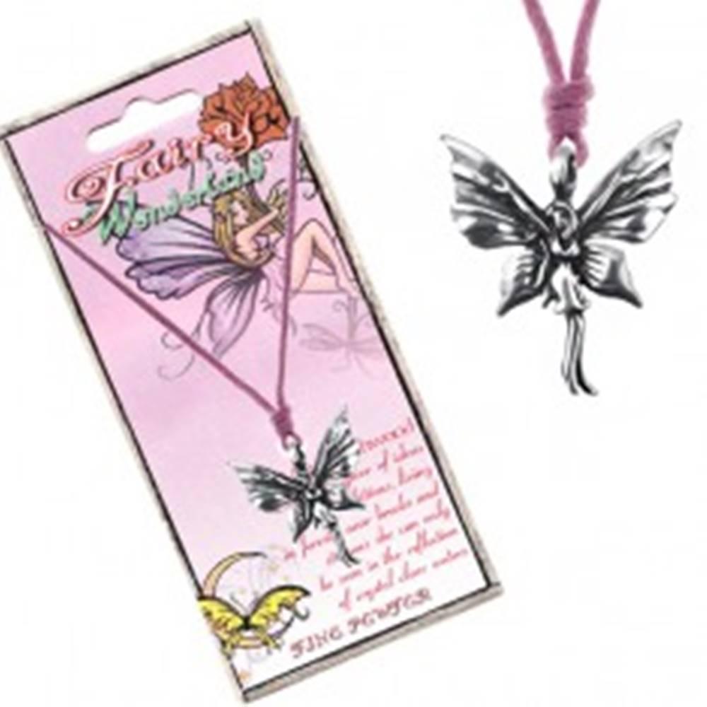 Šperky eshop Ružová šnúrka na krk a kovový prívesok stojacej motýlej víly