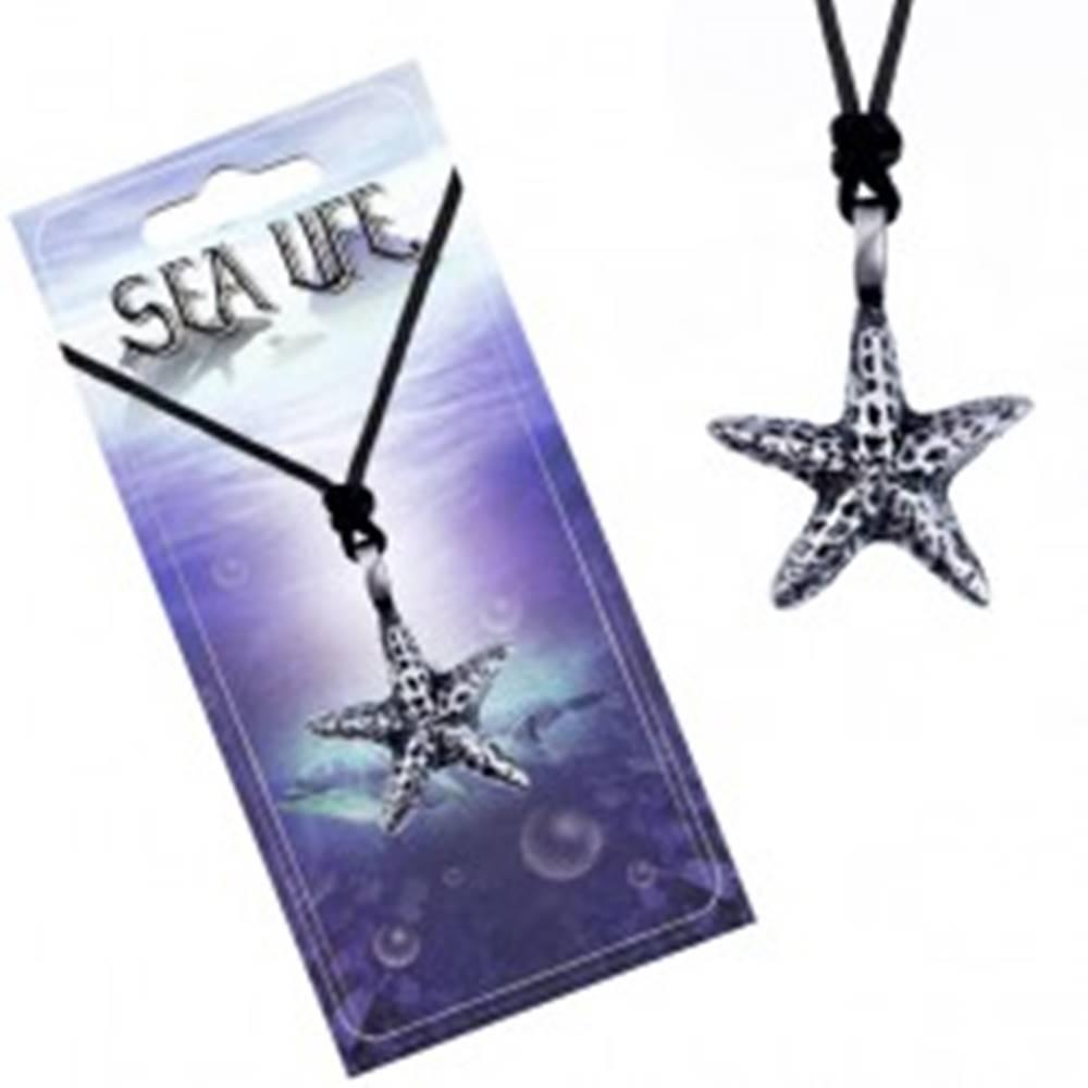 Šperky eshop Šnúrka a kovový prívesok - fľakatá morská hviezdica