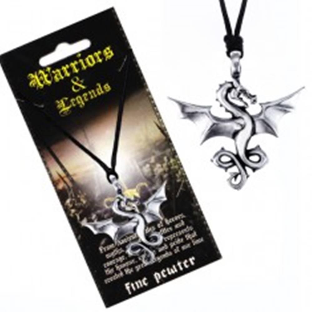 Šperky eshop Šnúrkový náhrdelník - čierny, kovový prívesok, lietajúci drak
