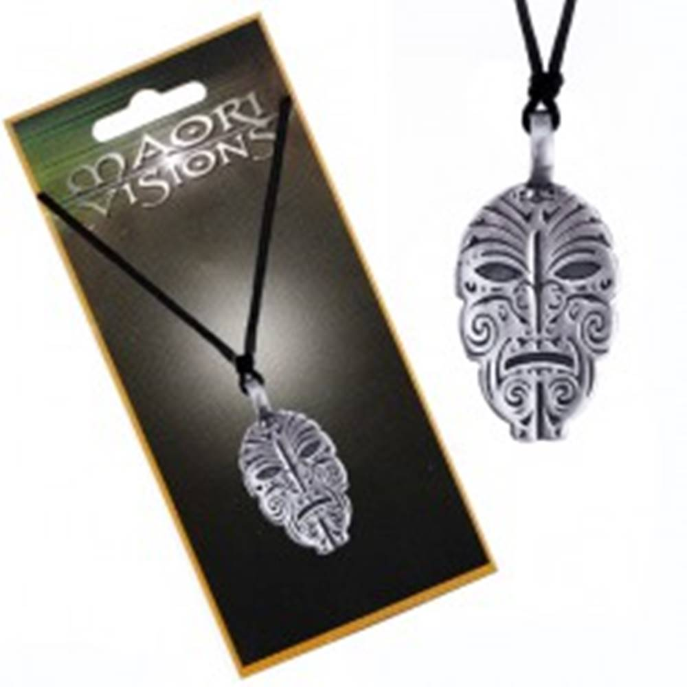 Šperky eshop Šnúrkový náhrdelník - plochá kovová zdobená tvár domorodca