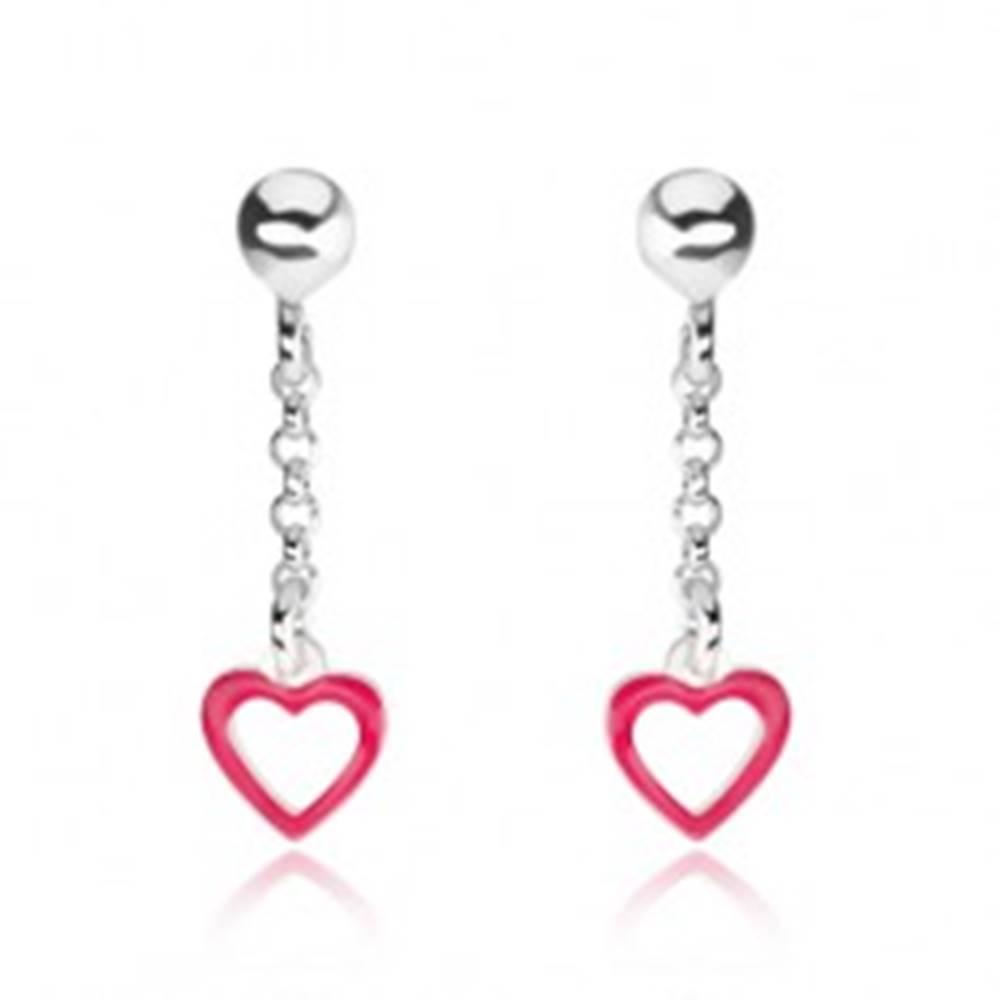 Šperky eshop Strieborné náušnice 925, gulička, retiazka, kontúra ružového srdiečka