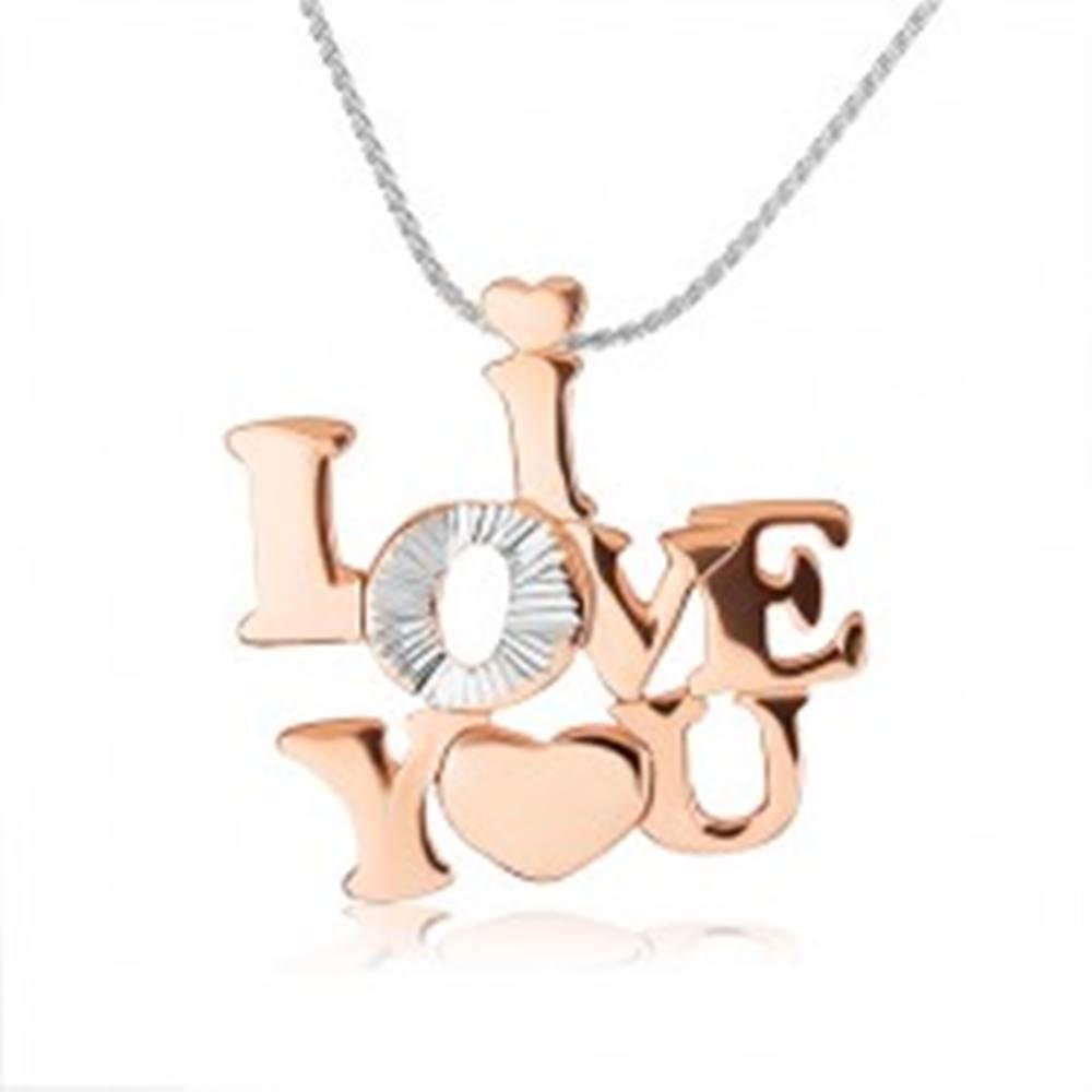 """Šperky eshop Strieborný náhrdelník 925 - lesklý nápis """"I LOVE YOU"""" medenej farby"""