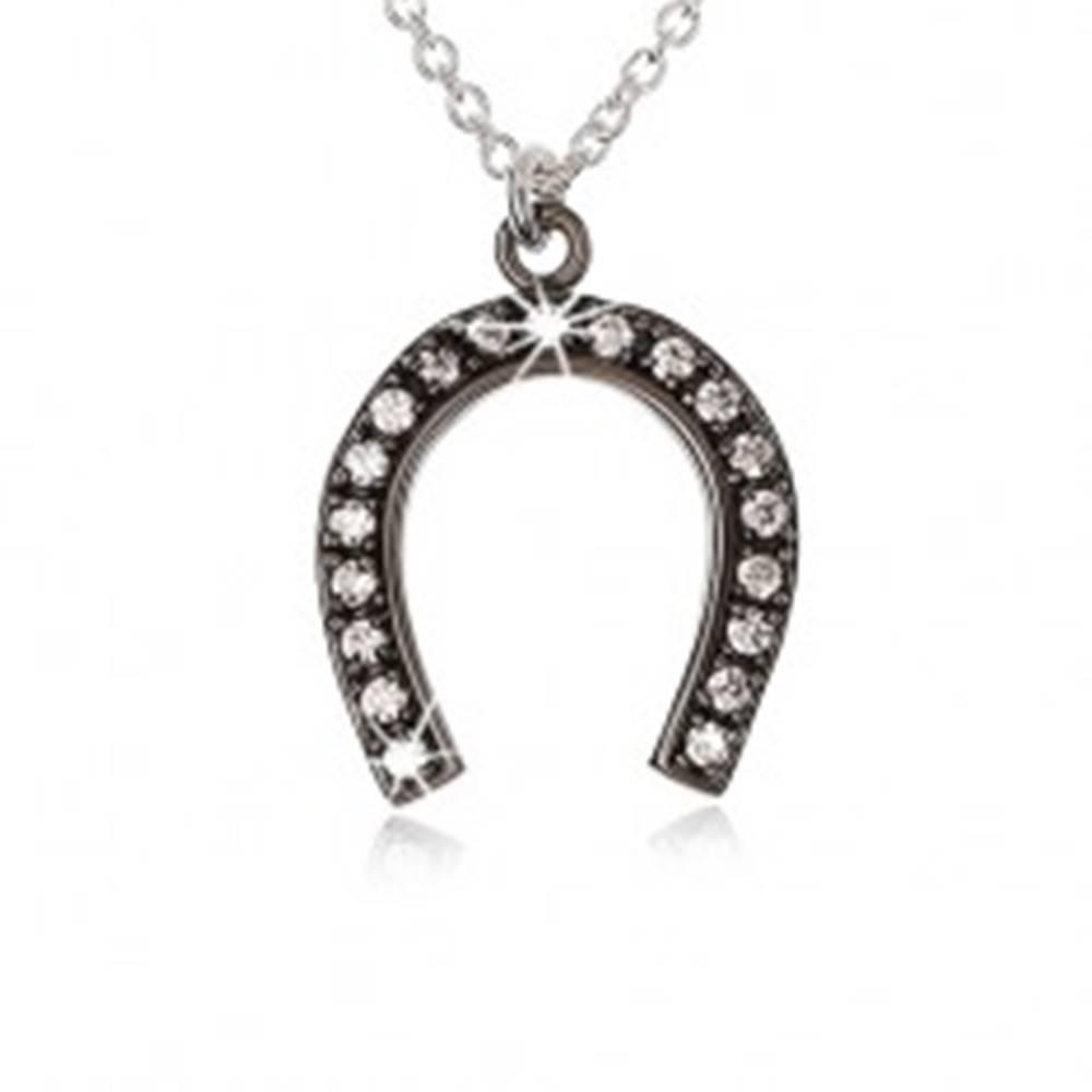 Šperky eshop Strieborný náhrdelník 925, oceľovo sivá podkova pre šťastie, číre zirkóny