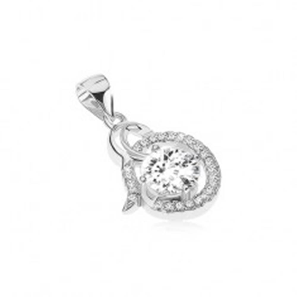 Šperky eshop Strieborný prívesok 925 - lesklá špirála, číry zirkónový ovál, okrúhly kamienok