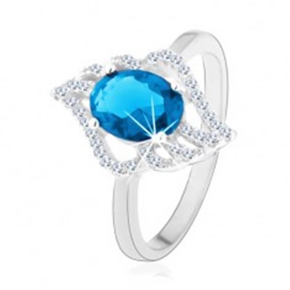 Šperky eshop Strieborný prsteň 925, kontúra číreho lístka s oválnym svetlomodrým zirkónom - Veľkosť: 49 mm