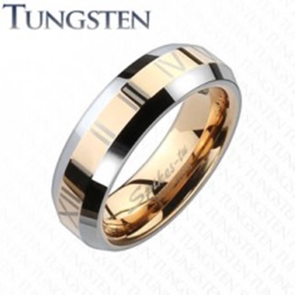 Šperky eshop Tungstenová obrúčka - pás medenej farby s rímskymi číslami - Veľkosť: 49 mm