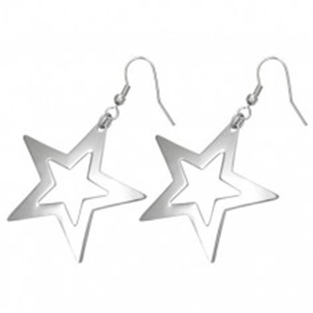 Šperky eshop Visiace náušnice z chirurgickej ocele - lesklý obrys veľkej päťcípej hviezdy