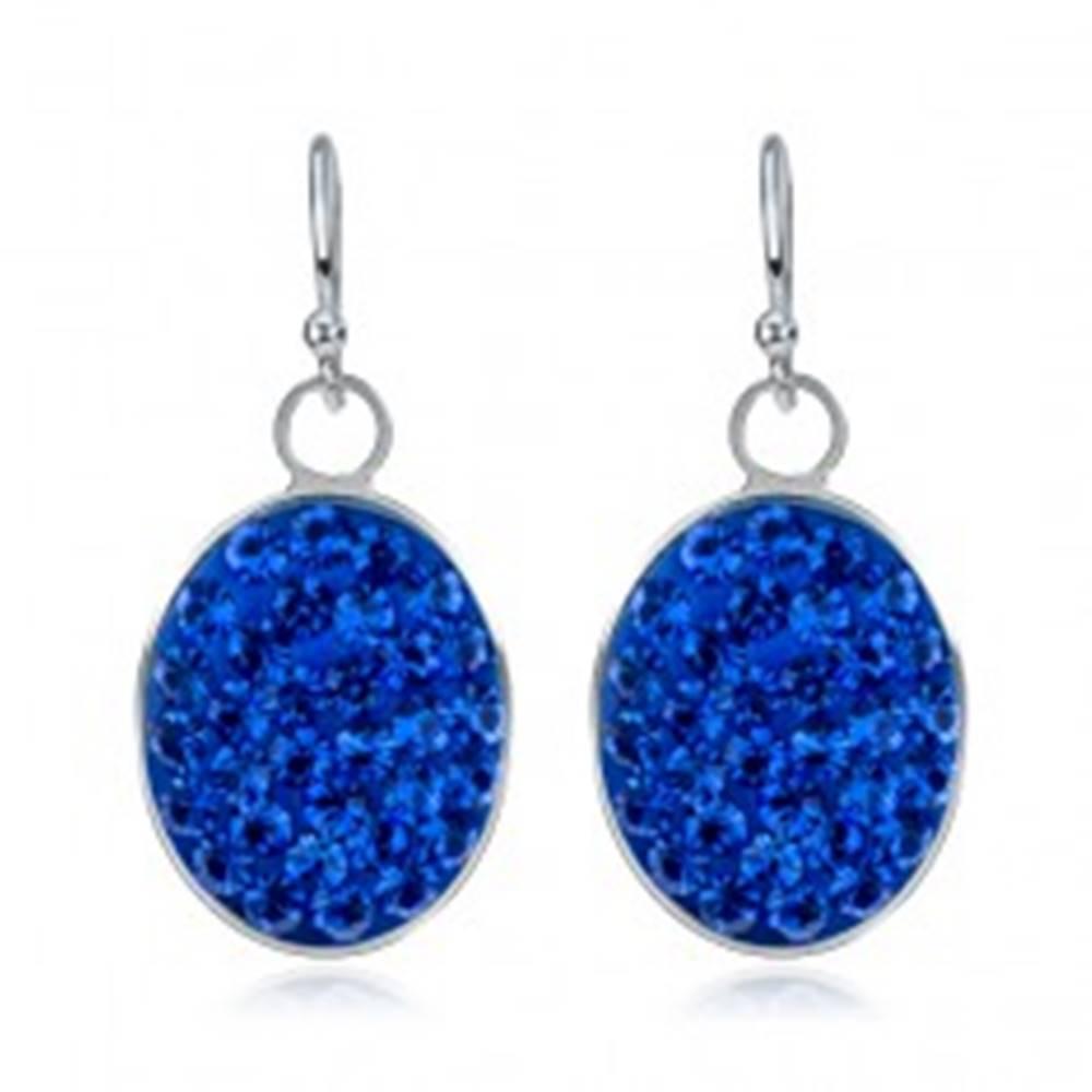 Šperky eshop Visiace náušnice zo striebra 925 - modrý zirkónový ovál, veľké