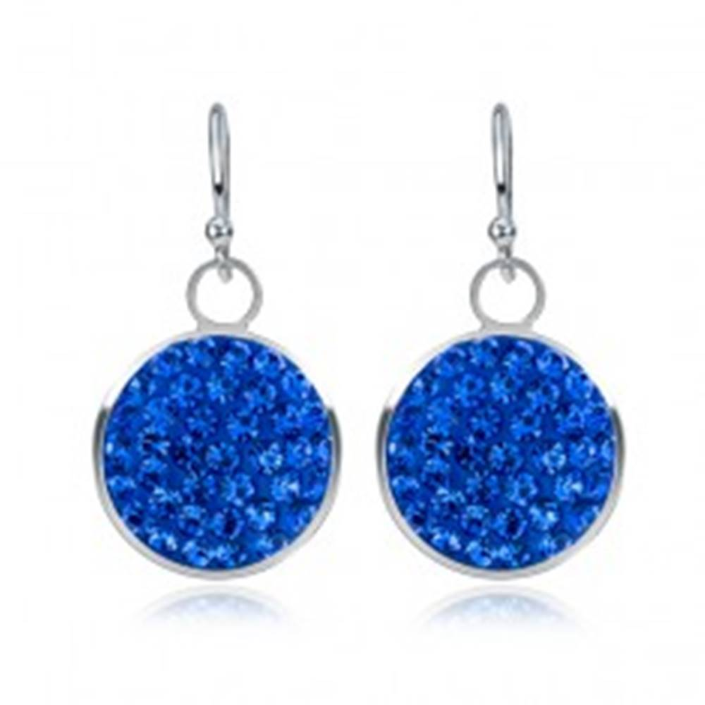 Šperky eshop Visiace strieborné náušnice 925 - modrý zirkónový kruh, 11 mm