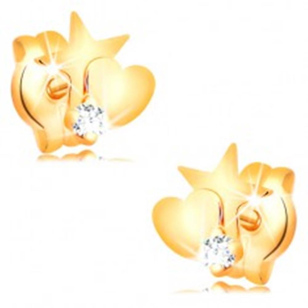 Šperky eshop Zlaté diamantové náušnice 585 - hviezda a srdce, okrúhly číry briliant