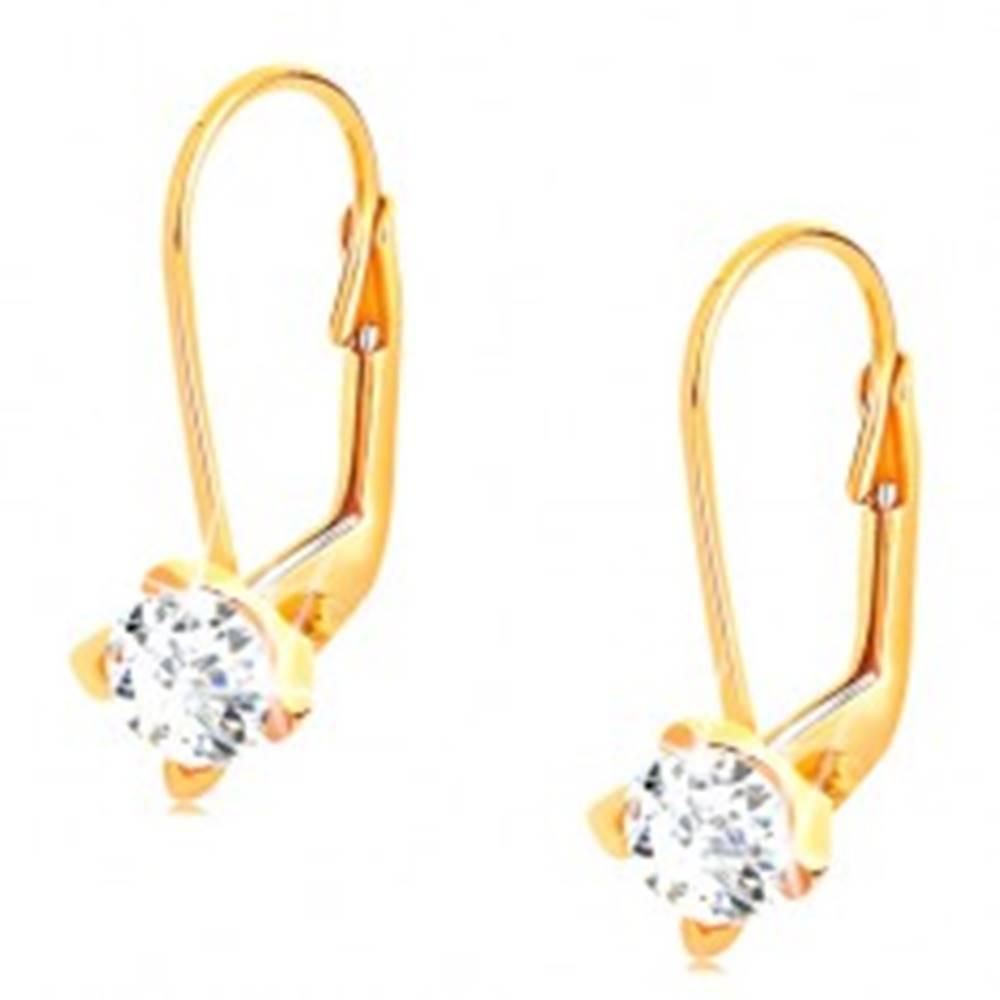 Šperky eshop Zlaté náušnice 585 - brúsený číry zirkón vsadený v štvorcípom kotlíku