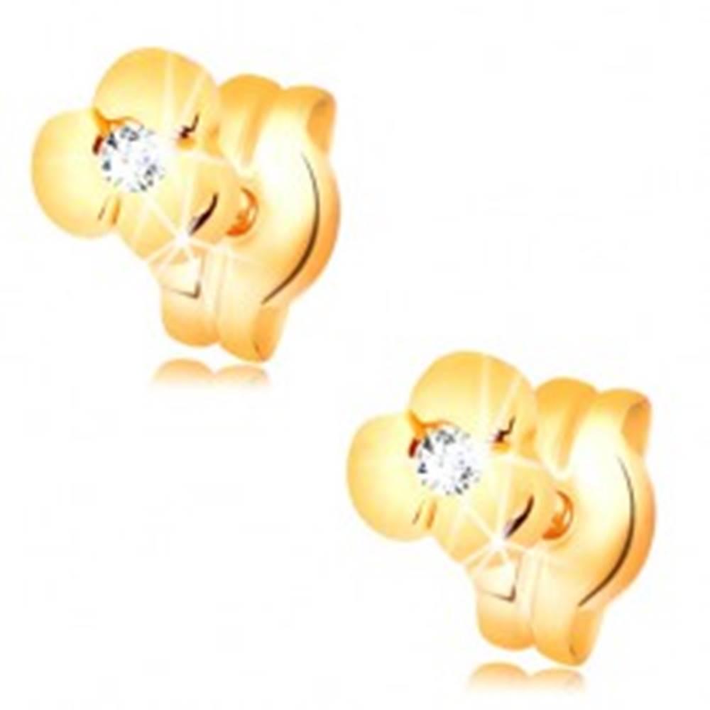Šperky eshop Zlaté náušnice 585 - lesklý kvietok s čírym briliantom, puzetky