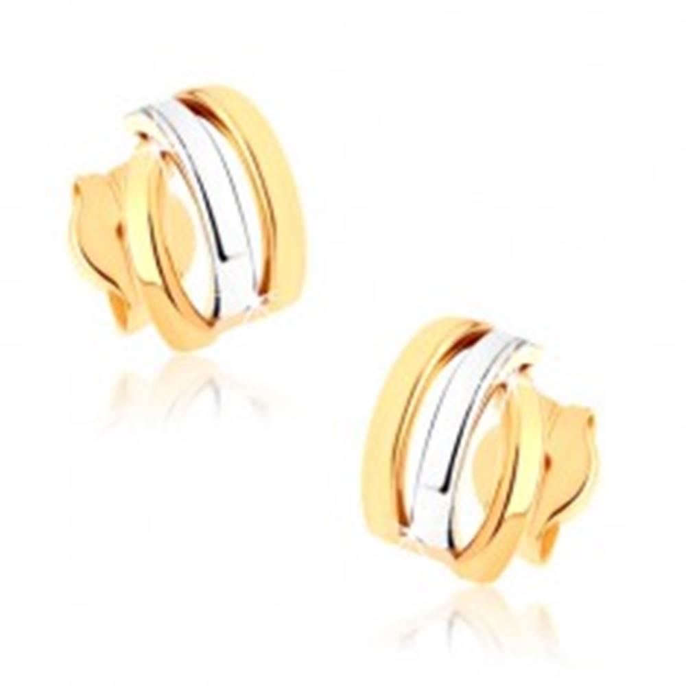 Šperky eshop Zlaté puzetové náušnice 375 - tri ligotavé oblúčiky, dvojfarebné