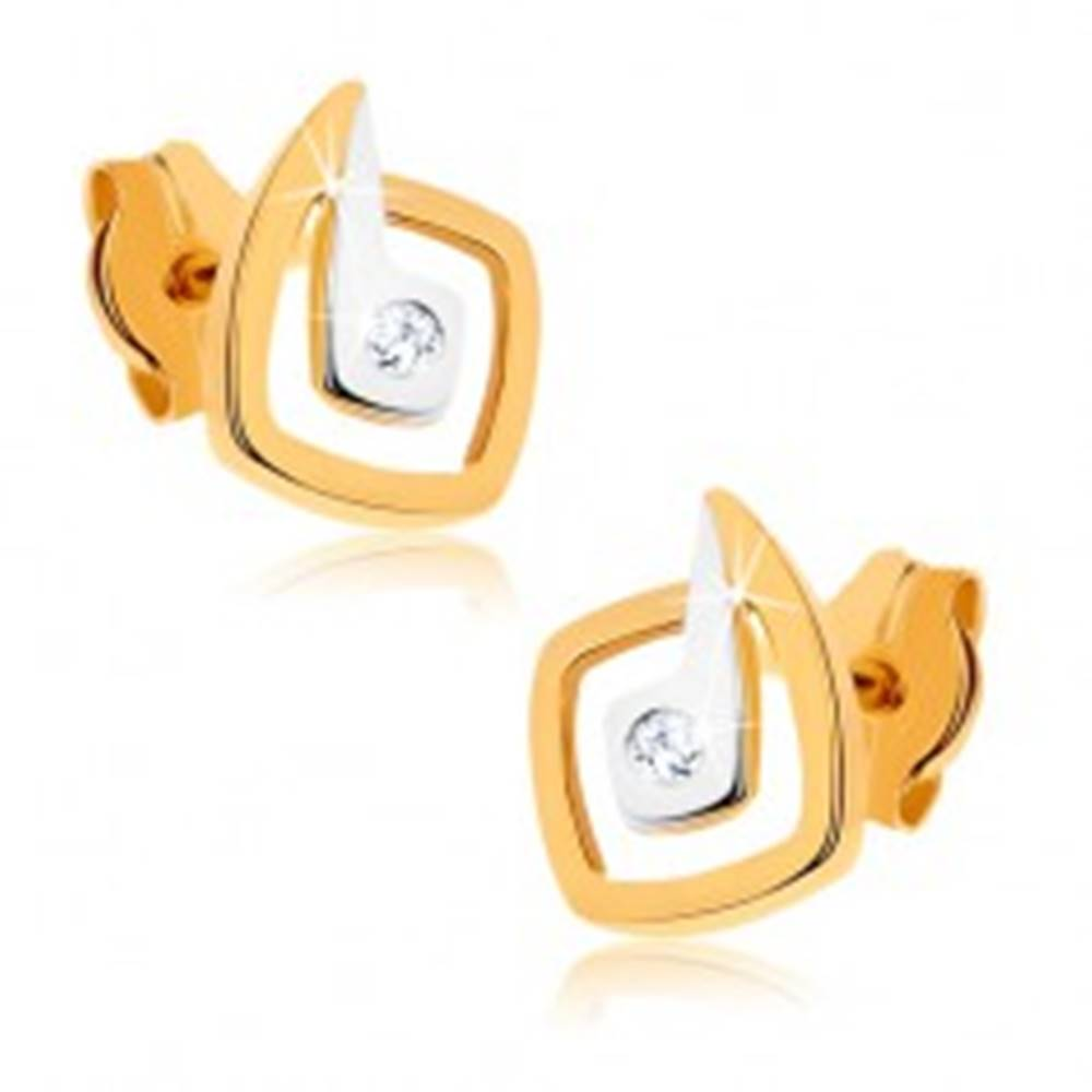 Šperky eshop Zlaté ródiované náušnice 375 - nepravidelné dvojfarebné štvorce, zirkón