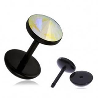 Akrylový fake plug do ucha - dúhový kamienok