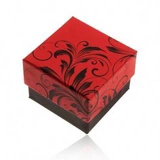 Červeno-čierna darčeková krabička na prsteň, motív kvetinových ornamentov