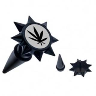 Čierny fake taper do ucha s ostňami - oceľový, list konope