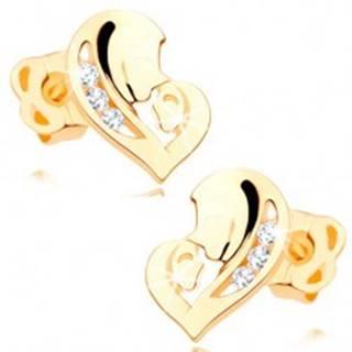 Diamantové náušnice v žltom 14K zlate - srdce z dvoch tvárí, číre brilianty