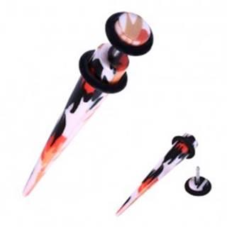 Falošný expander do ucha z akrylu - oranžovo-čierne škvrny