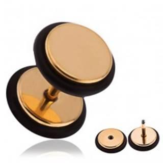 Falošný oceľový piercing do ucha zlatej farby, gumičky