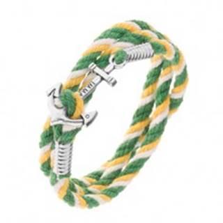 Farebný náramok na ruku v zelenej, žltej a bielej farbe, lesklá lodná kotva