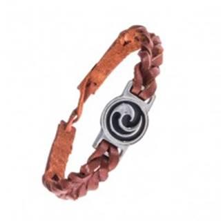 Karamelovo hnedý náramok - kožený, maorský symbol Koru