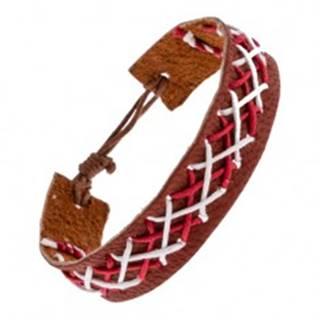 Kožený náramok na ruku hnedej farby - prepletené šnúrky dvoch farieb