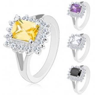 Lesklý prsteň so strieborným odtieňom, veľký hranol, brúsené zirkóny - Veľkosť: 49 mm, Farba: Číra