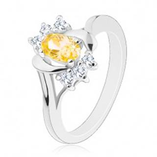 Lesklý prsteň so žltým oválnym zirkónom, strieborná farba, číre zirkóniky - Veľkosť: 50 mm