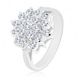 Lesklý prsteň v striebornej farbe, veľký kvet z okrúhlych čírych zirkónikov - Veľkosť: 50 mm