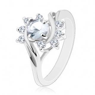 Ligotavý prsteň, oblúky čírych zirkónov, veľký okrúhly zirkón čírej farby - Veľkosť: 49 mm