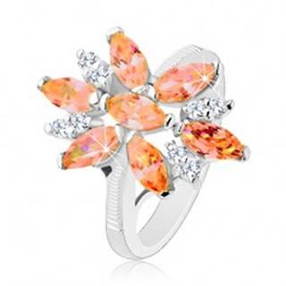 Ligotavý prsteň v striebornej farbe, veľký kvet z oranžových a čírych zirkónov - Veľkosť: 50 mm