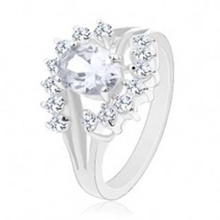 Ligotavý prsteň v striebornom odtieni, číre oblúčiky, zirkónový ovál - Veľkosť: 49 mm