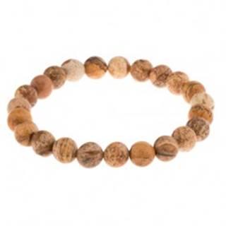 Náramok na ruku - guľaté korálky z hnedého jaspisu, priesvitná gumička