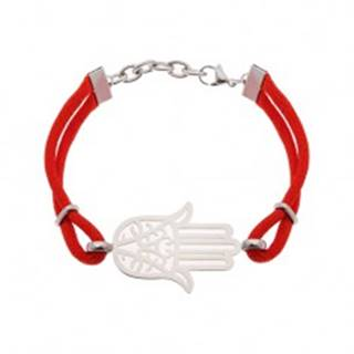 Náramok z chirurgickej ocele a červených šnúrok, vyrezávaný symbol Hamsa