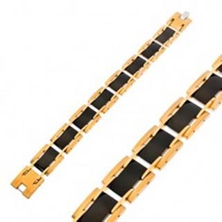 Náramok z chirurgickej ocele, obdĺžnikové dieliky, čierna a zlatá farba