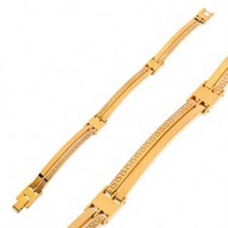 Náramok z chirurgickej ocele zlatej farby, úzke články, grécky kľúč