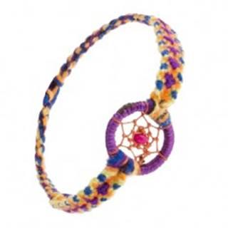 Náramok z farebných nití, ružová korálka v kruhu s pavučinkou